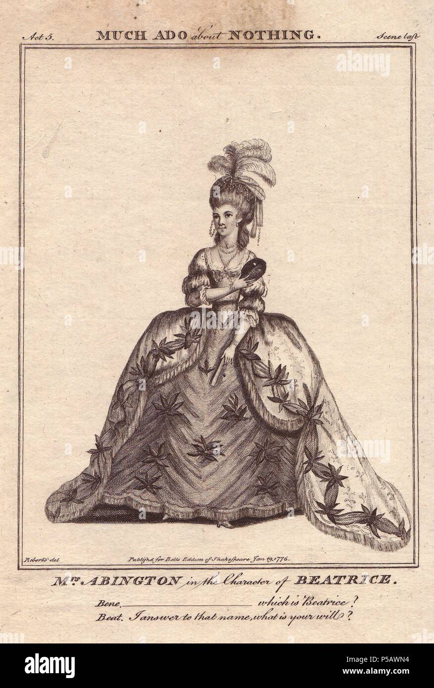Frances Abington as Beatrice in 'Much Ado About Nothing.'. . Abington played Beatrice for the first time in 1775 opposite David Garrick at Drury Lane to 'very great applause.'. . Copperplate engraving from 'Bell's Shakespeare' published by John Bell, London, from 1776. Drawn by James Roberts. - Stock Image