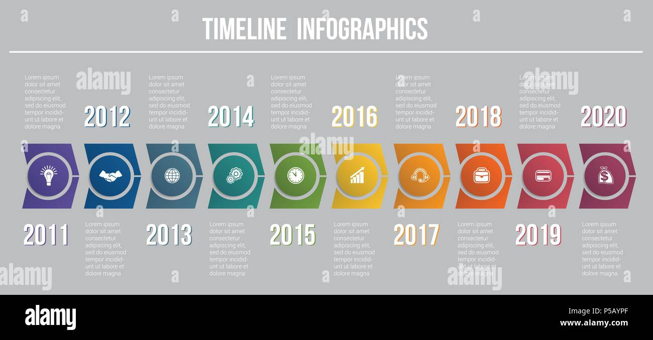 timeline arrows 10 positions template for infographic to use for