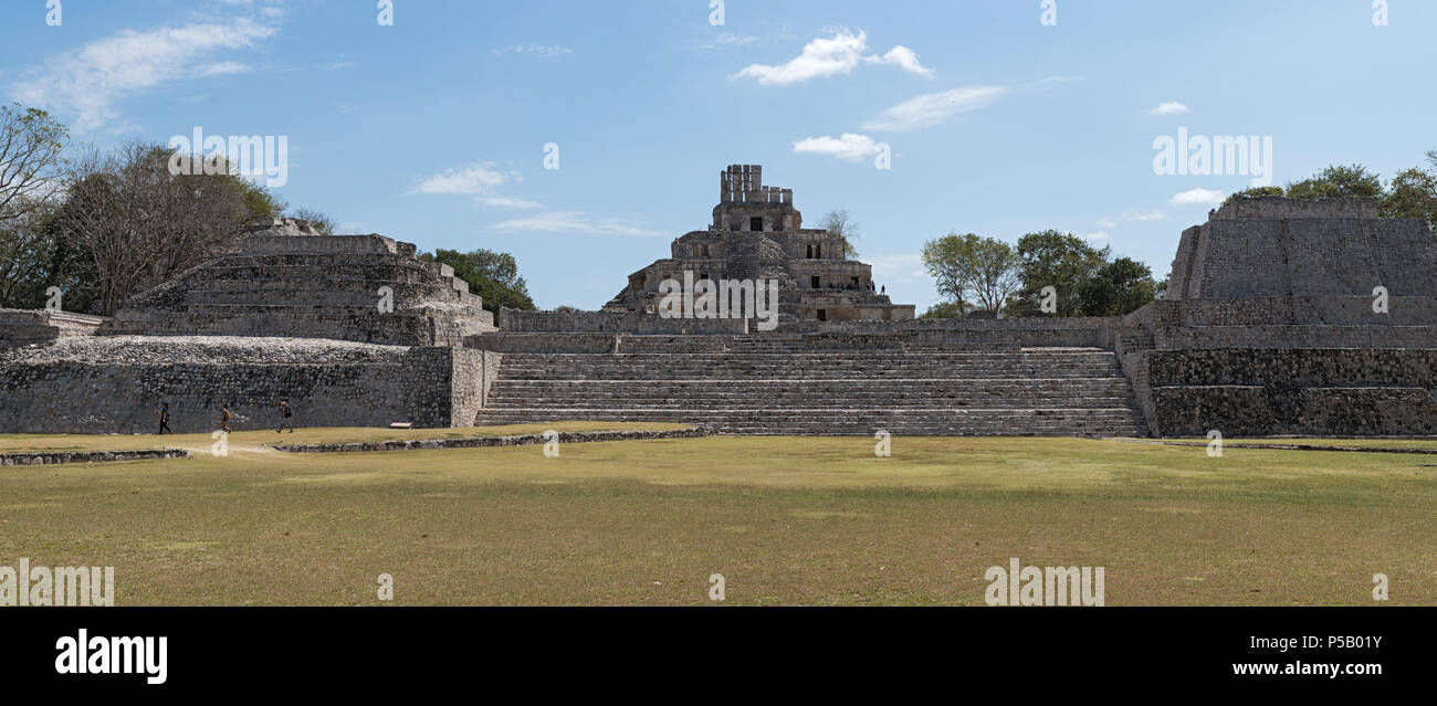 panoramic view of the acropolis of the mayan ruins of edzna near campeche, mexico - Stock Image
