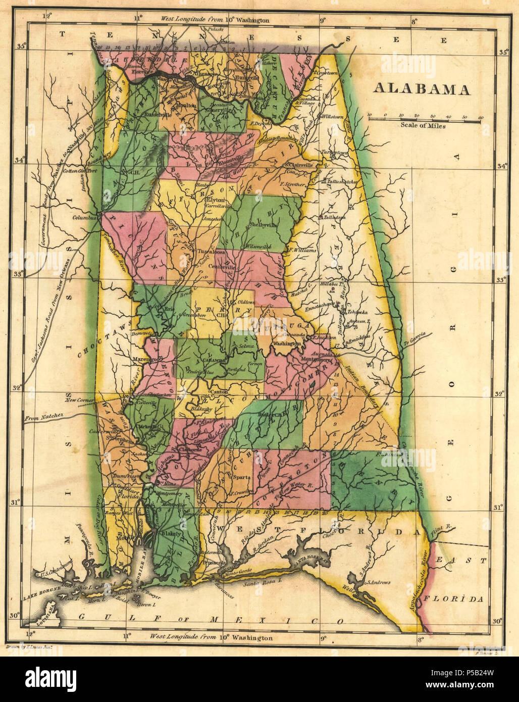 1822 Map of Alabama counties.JPG Stock Photo: 209840873 - Alamy