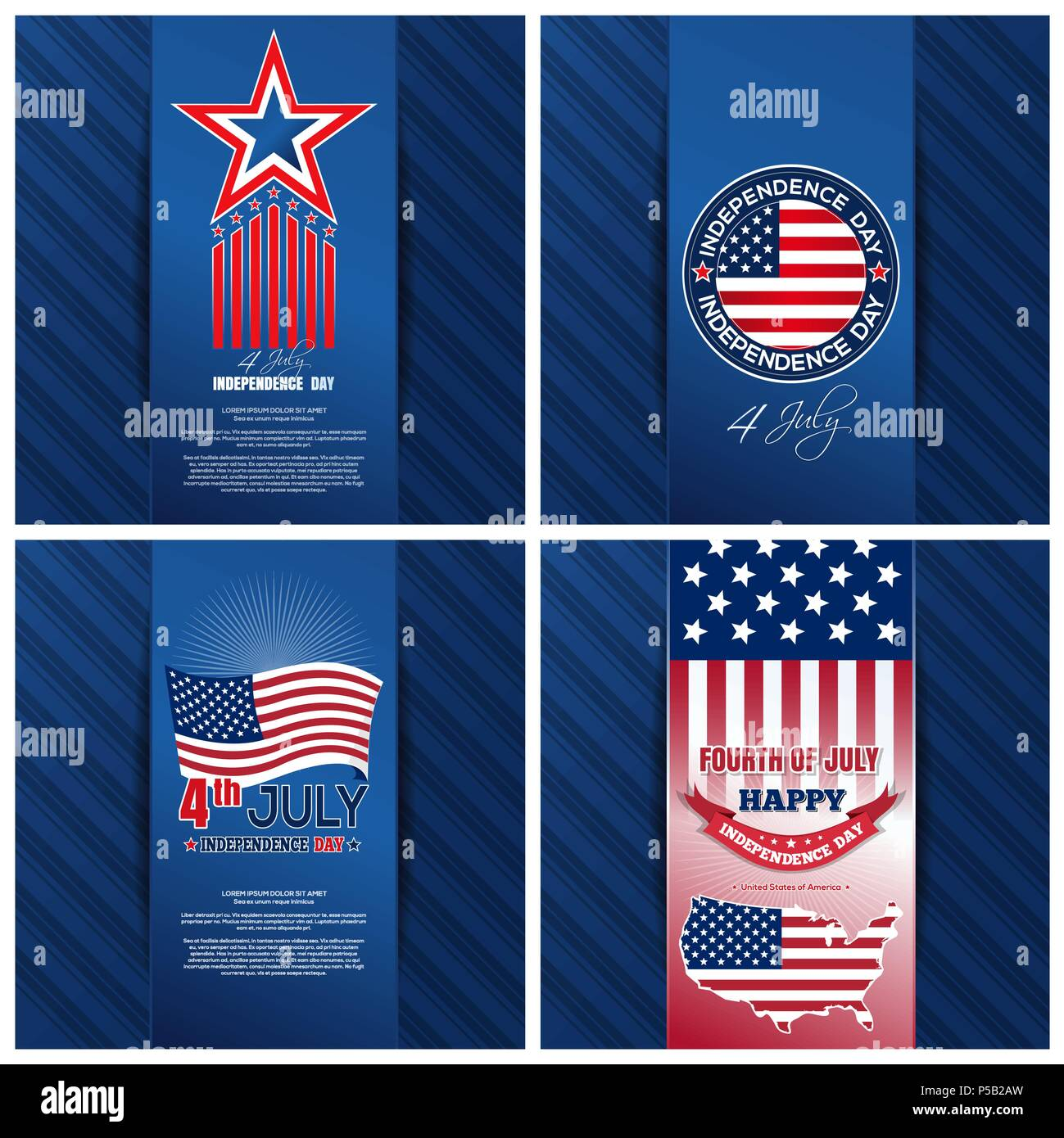 Greeting Cards Set For The United States Independence Day 4th Of