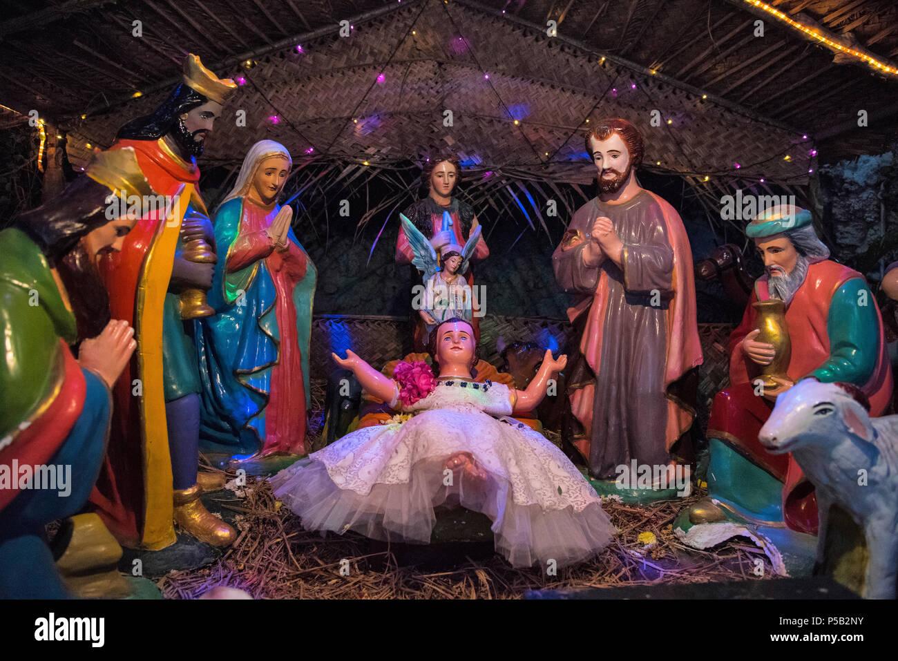Nativity scene, Christmas at Basilica of the Sacred Heart of Jesus, Pondicherry, India - Stock Image