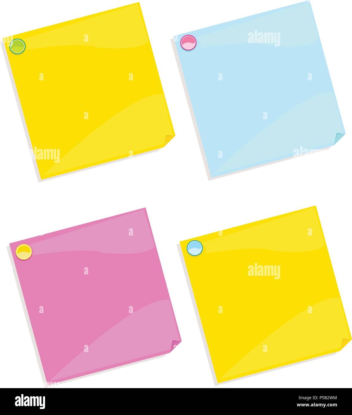 Colorful postit set - Stock Image