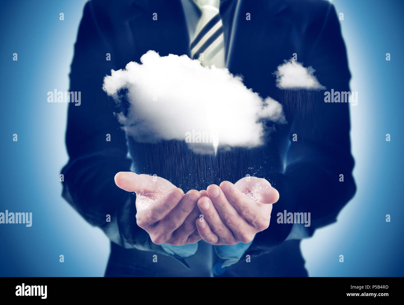 Business and sustainable concept.Businessman holding a rainy cloud - Stock Image