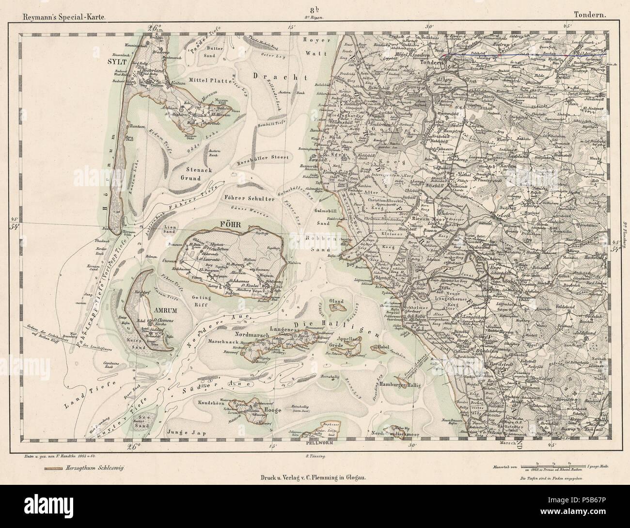 N A English Map Sheet 8b Tondern Northwest Schleswig Germany