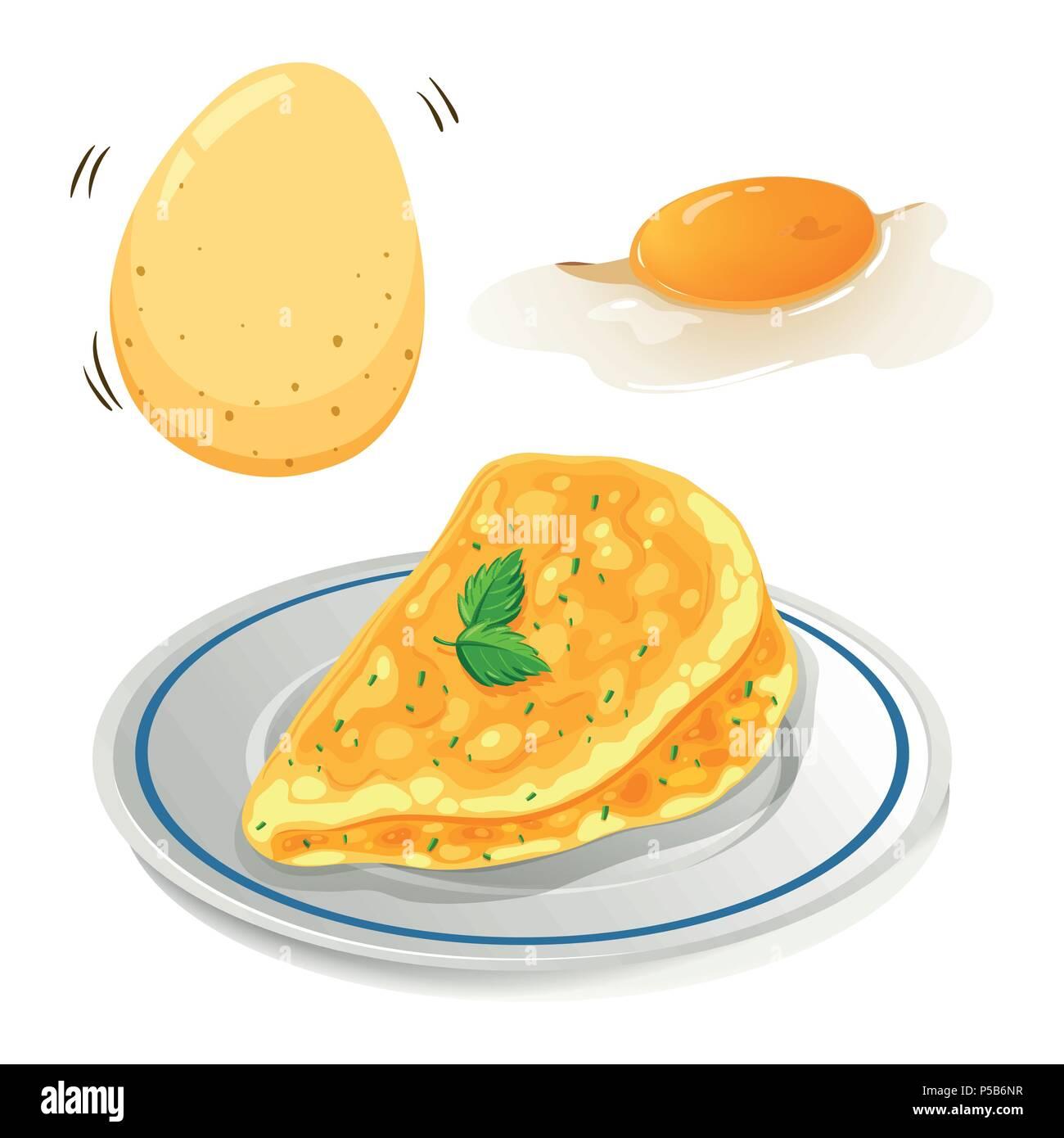 An Omelet on White Background illustration - Stock Vector