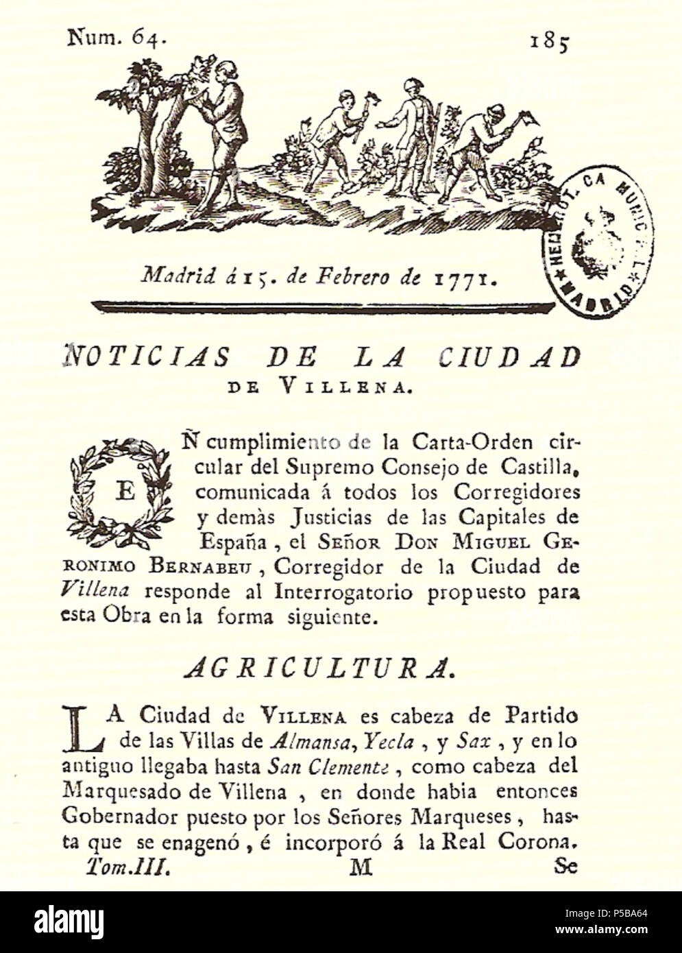 N/A. Español: Es un escaneo de la revista 'Correo General de España' que versa sobre Villena . 1771. Marino Nipho 382 Correo.1771-02-15--185 Stock Photo