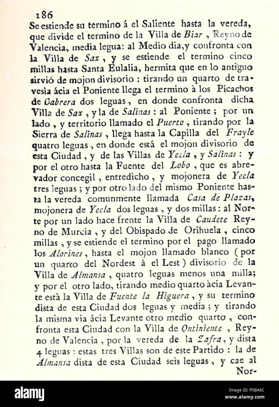 N/A. Español: Es un escaneo de la revista 'Correo General de España' que versa sobre Villena . 1771. Marino Nipho 382 Correo.1771-02-15--186 Stock Photo