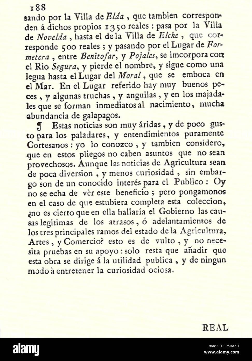 N/A. Español: Es un escaneo de la revista 'Correo General de España' que versa sobre Villena . 1771. Marino Nipho 382 Correo.1771-02-15--188 Stock Photo