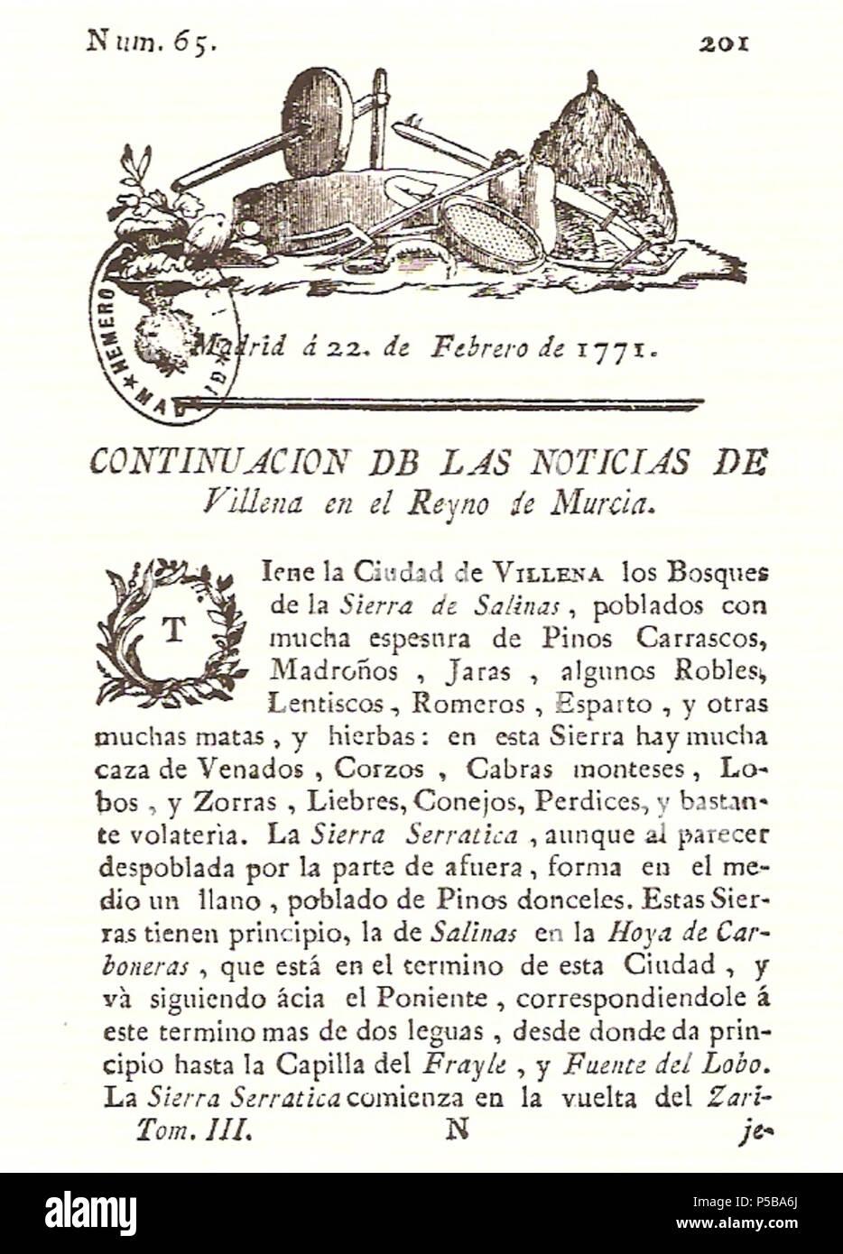 N/A. Español: Es un escaneo de la revista 'Correo General de España' que versa sobre Villena . 1771. Marino Nipho 382 Correo.1771-02-22--201 Stock Photo
