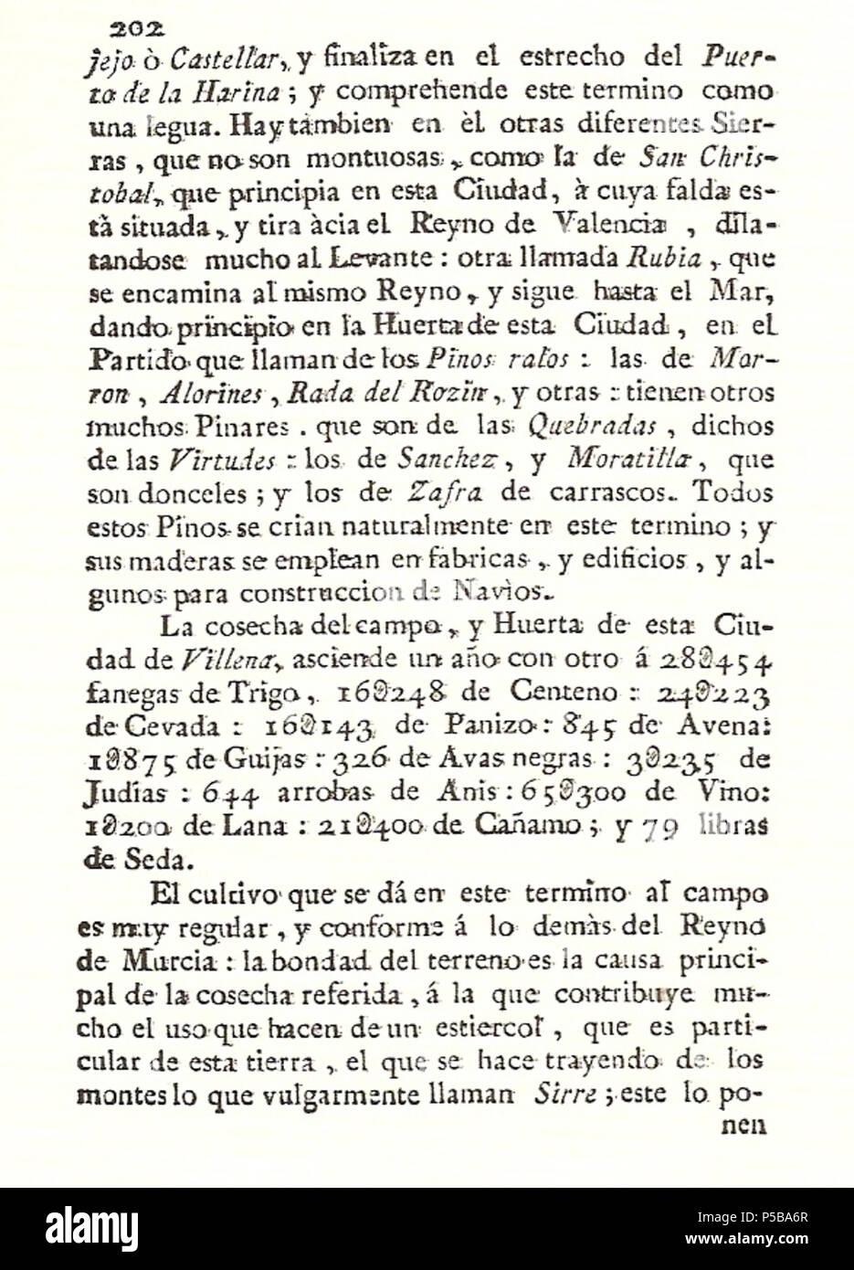 N/A. Español: Es un escaneo de la revista 'Correo General de España' que versa sobre Villena . 1771. Marino Nipho 382 Correo.1771-02-22--202 Stock Photo