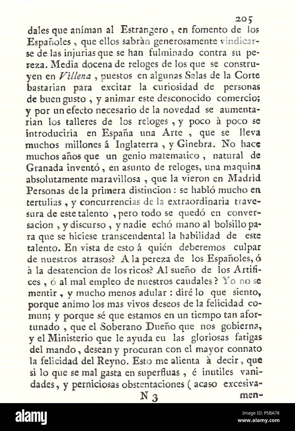 N/A. Español: Es un escaneo de la revista 'Correo General de España' que versa sobre Villena . 1771. Marino Nipho 382 Correo.1771-02-22--205 Stock Photo