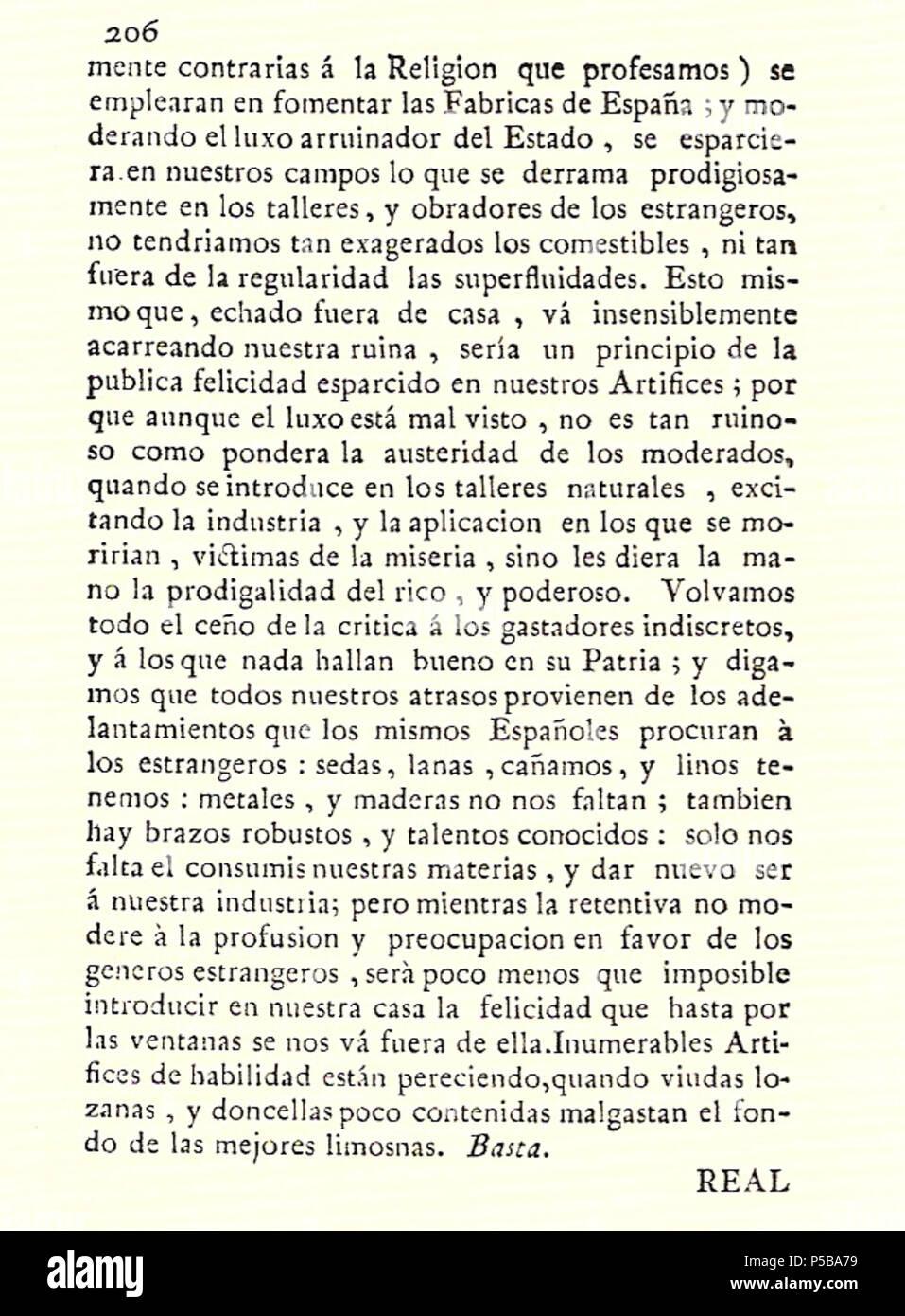 N/A. Español: Es un escaneo de la revista 'Correo General de España' que versa sobre Villena . 1771. Marino Nipho 382 Correo.1771-02-22--206 Stock Photo