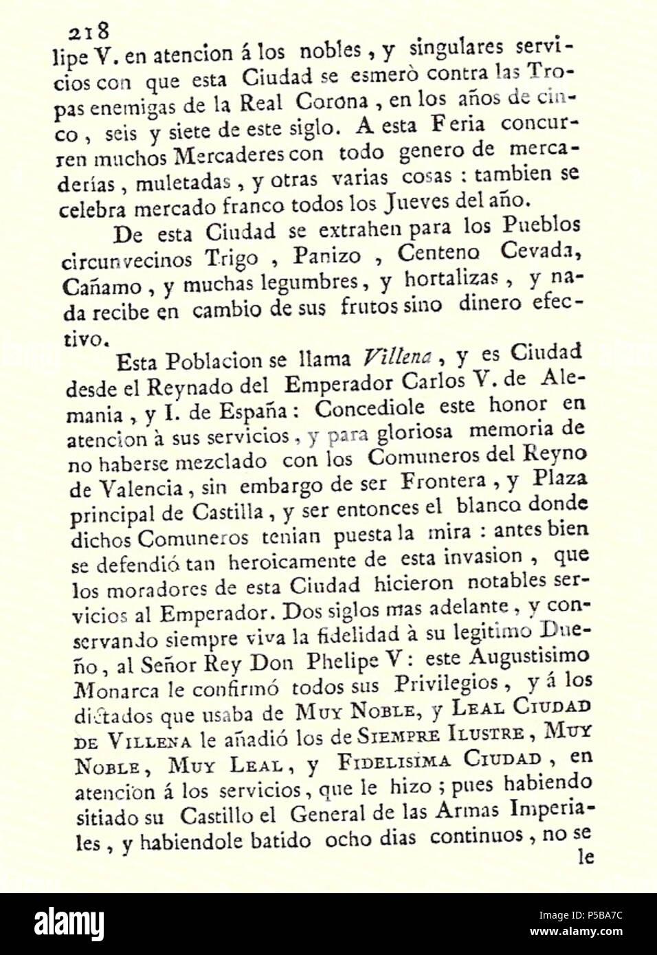 N/A. Español: Es un escaneo de la revista 'Correo General de España' que versa sobre Villena . 1771. Marino Nipho 382 Correo.1771-02-26--218 Stock Photo