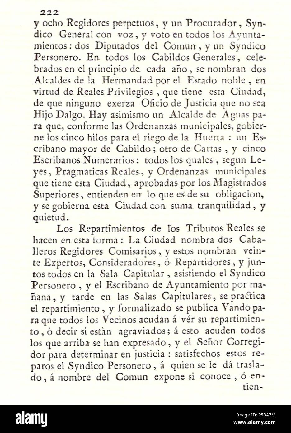 N/A. Español: Es un escaneo de la revista 'Correo General de España' que versa sobre Villena . 1771. Marino Nipho 382 Correo.1771-02-26--222 Stock Photo