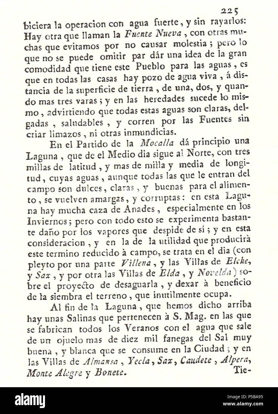 N/A. Español: Es un escaneo de la revista 'Correo General de España' que versa sobre Villena . 1771. Marino Nipho 382 Correo.1771-02-26--225 Stock Photo