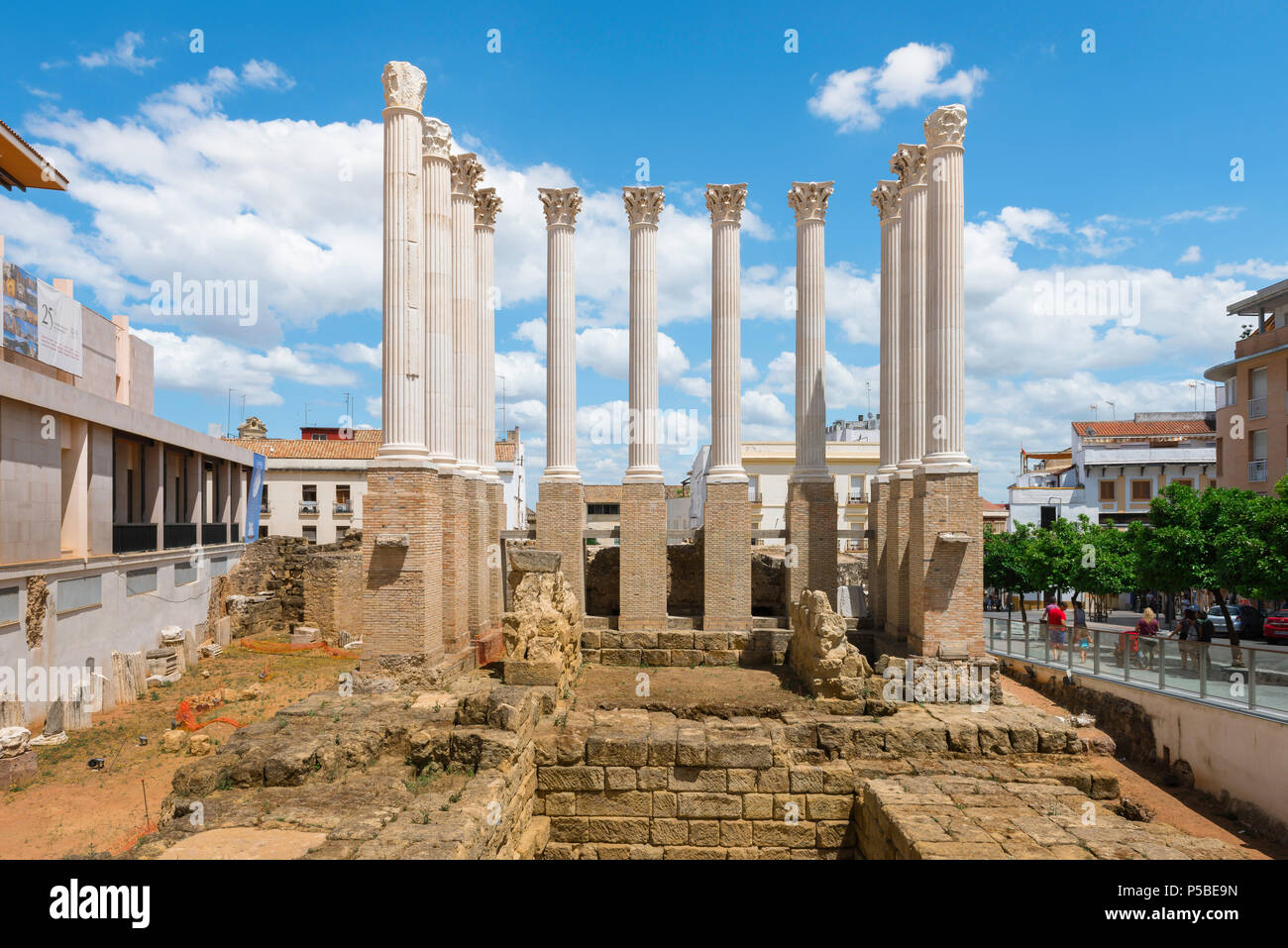 Cordoba Roman temple, view of reconstructed columns sited above the excavation of an ancient Roman temple in the center of Cordoba, Andalucia, Spain. - Stock Image