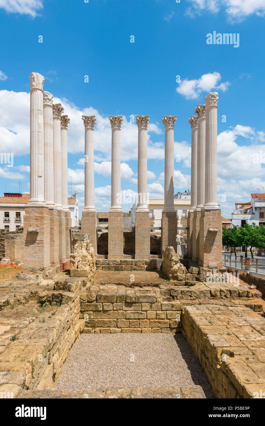 Roman temple Cordoba, view of reconstructed columns sited above the excavation of an ancient Roman temple in the center of Cordoba, Andalucia, Spain. - Stock Image