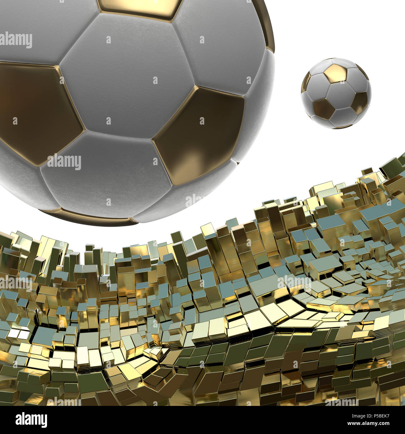 5a3e37b7c Soccer-balls isolated on golden architectural background 3d illustration