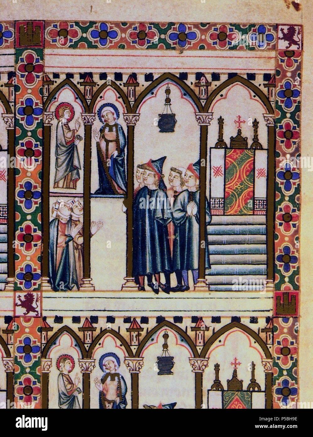 MS.B.R.20- CANTIGA STA MARIA-Nº306-F21V-B-HOMBRES CON GARNACHAS-HEREJES EN ROMA-MINIATURA S XIII. Author: Alfonso X of Castile the Wise (1221-1284). Location: BIBLIOTECA NACIONAL COLECCIÓN, FLORENZ, ITALIA. - Stock Image