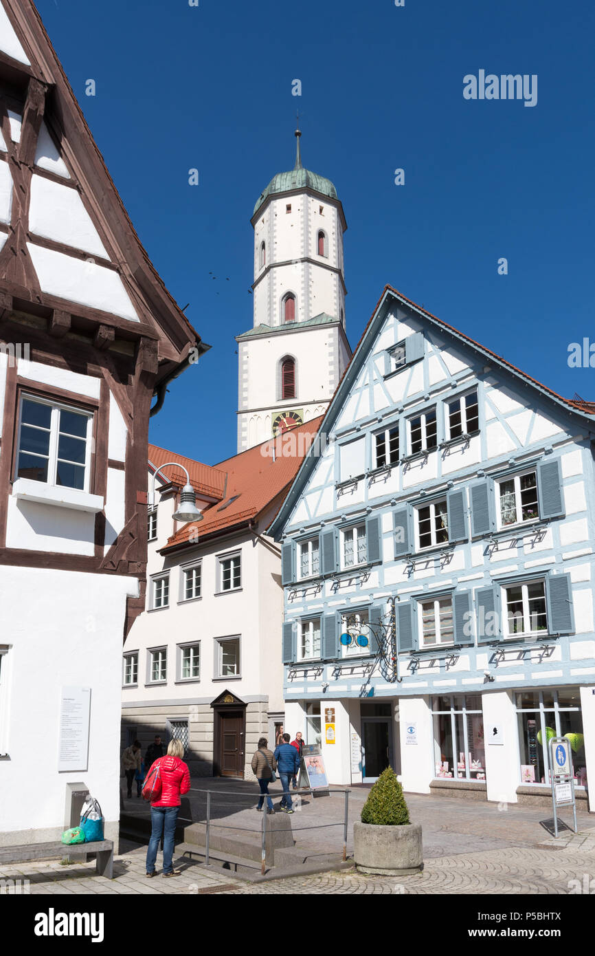 Town Hall and St. Martin church in Biberach, Germany Stock Photo