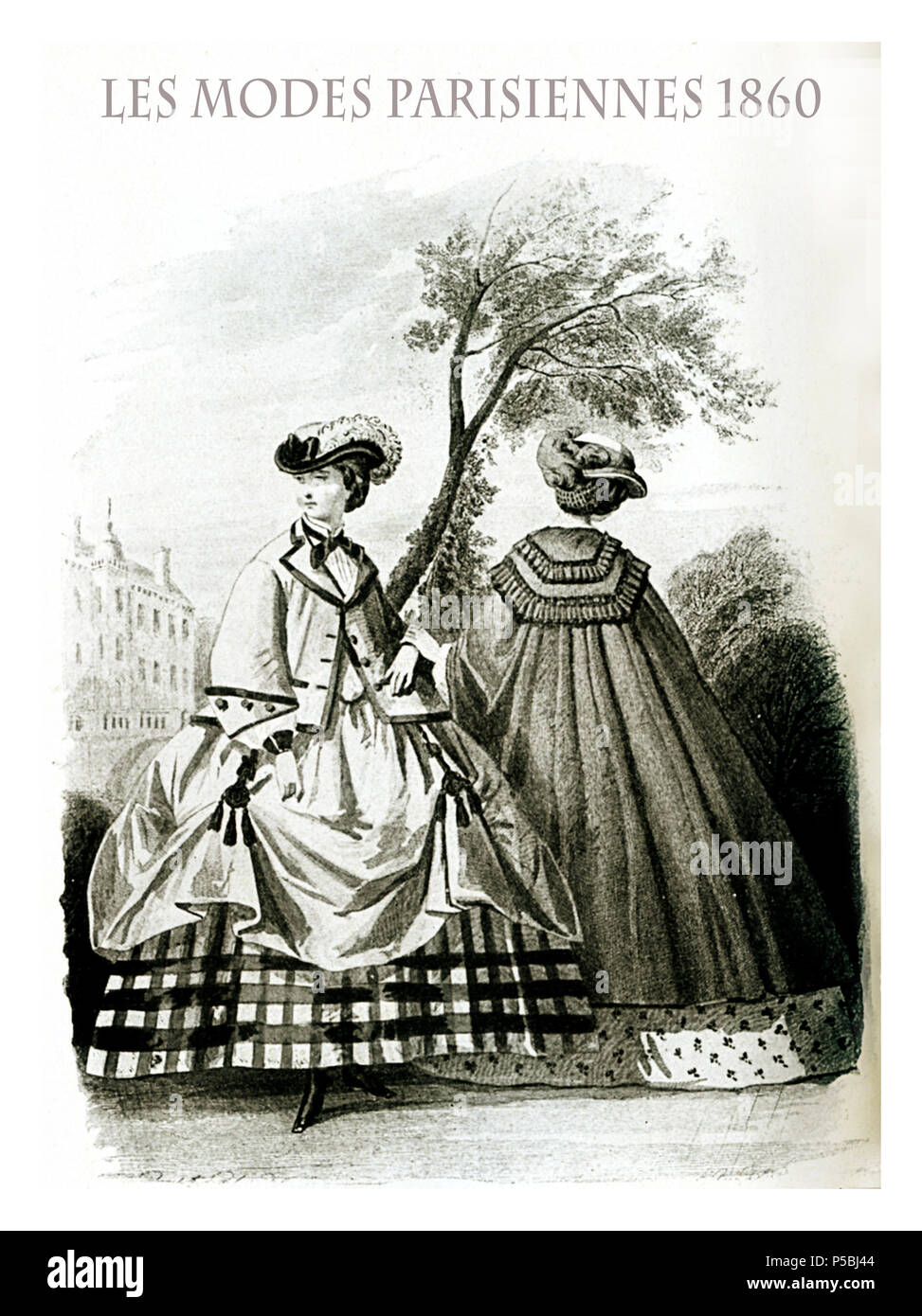1860 vintage fashion, French magazine Les Modes Parisiennes presents two ladies outdoor  with fancy cloths, cloak, jacket and hats - Stock Image