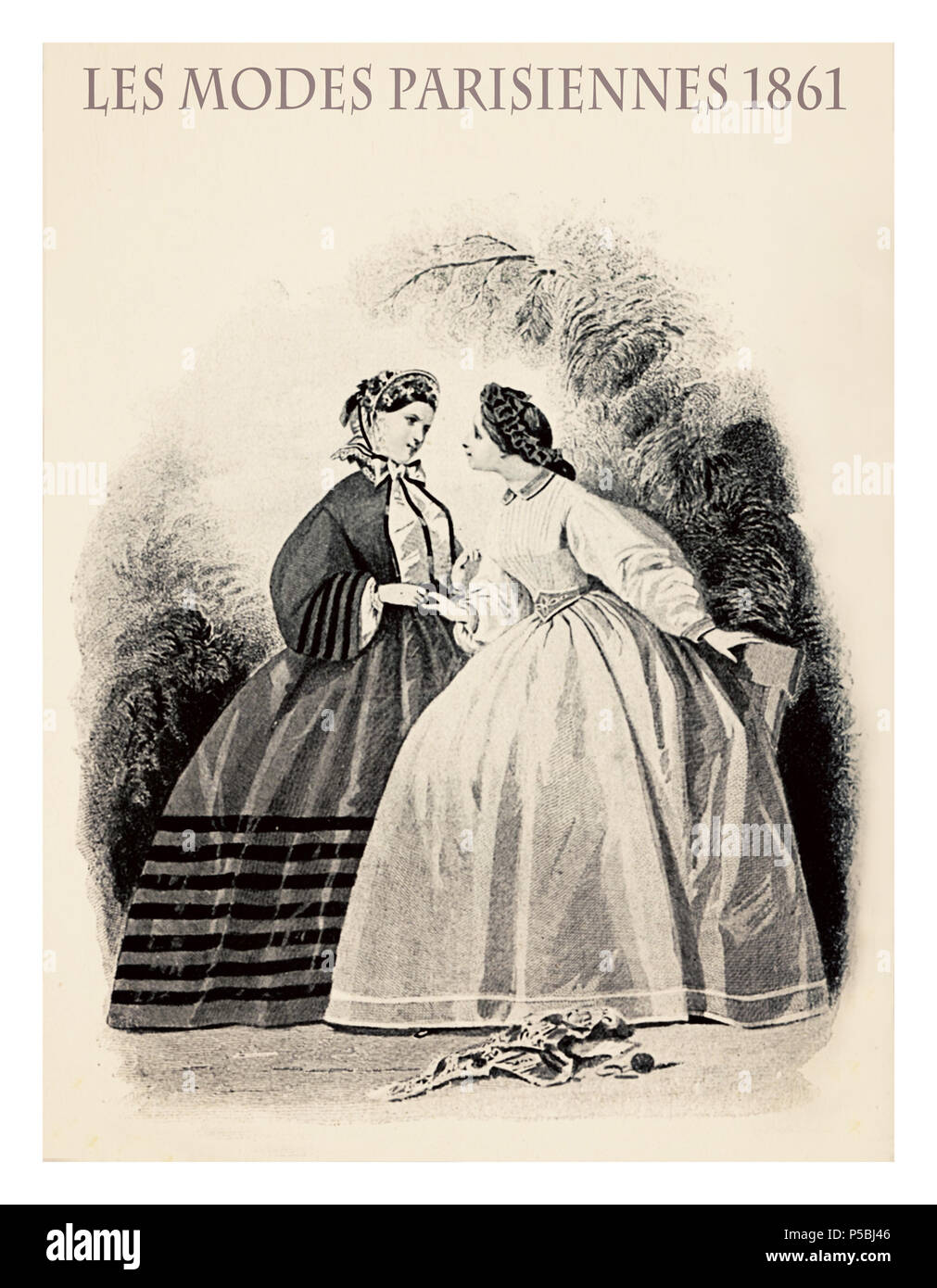 1861 fashion, French magazine Les Modes Parisiennes presents two ladies standing in garden chatting with fancy cloths - Stock Image