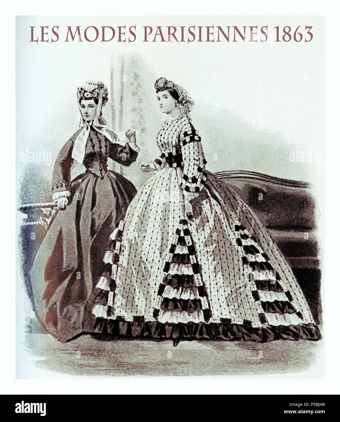 1863 fashion, French magazine Les Modes Parisiennes presents two young ladies standing indoor  with fancy cloths and hairdressing - Stock Image