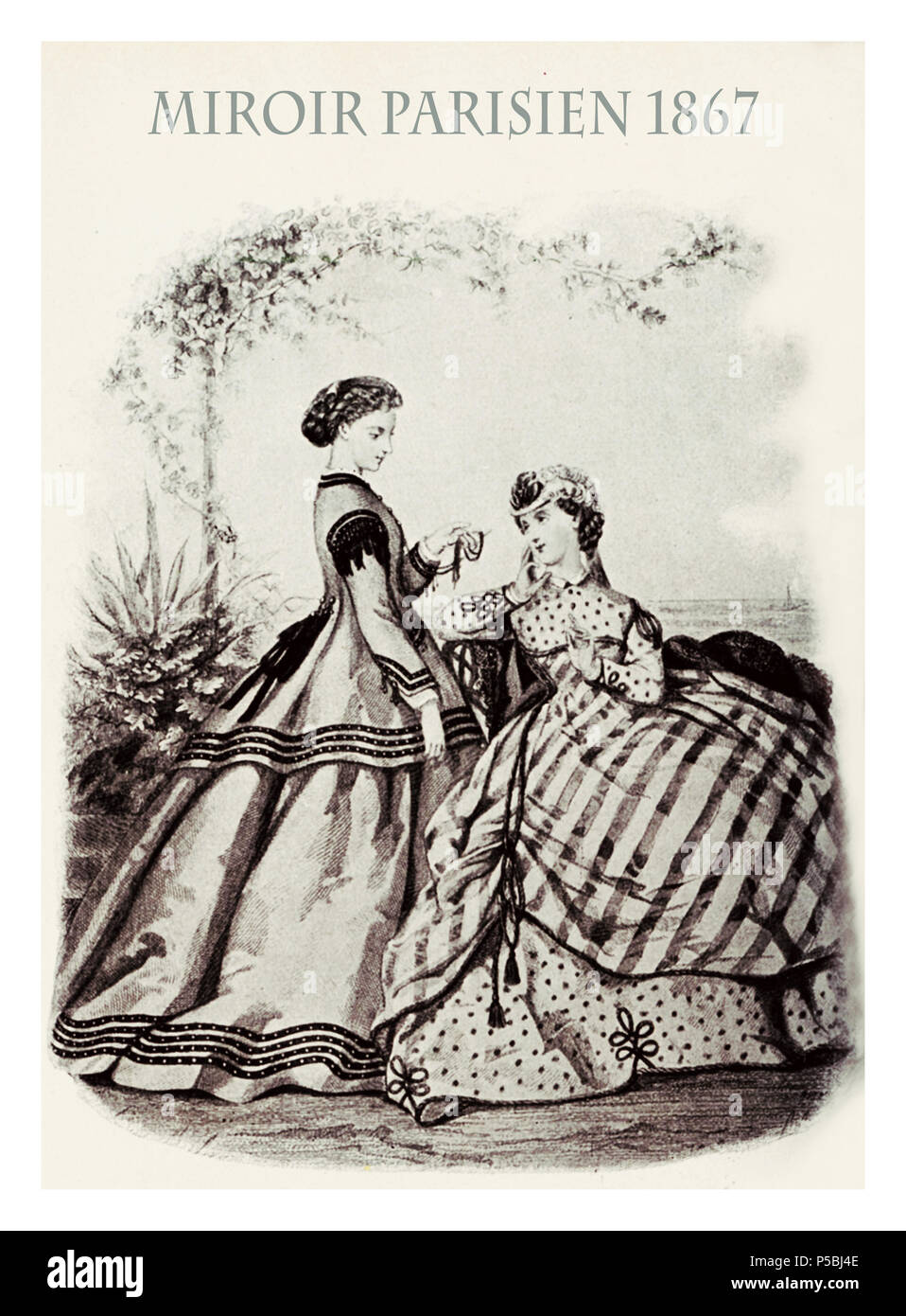1867 fashion, French magazine Les Modes Parisiennes presents two ladies outdoor in garden chatting with fancy cloths and hairdressing - Stock Image