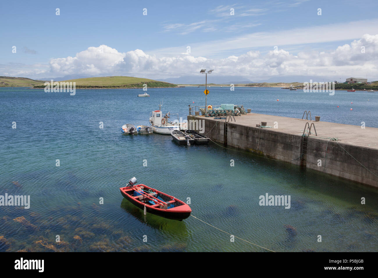 The harbour near Kildamhnait Castle on Achill Island in County Mayo, Ireland - Stock Image