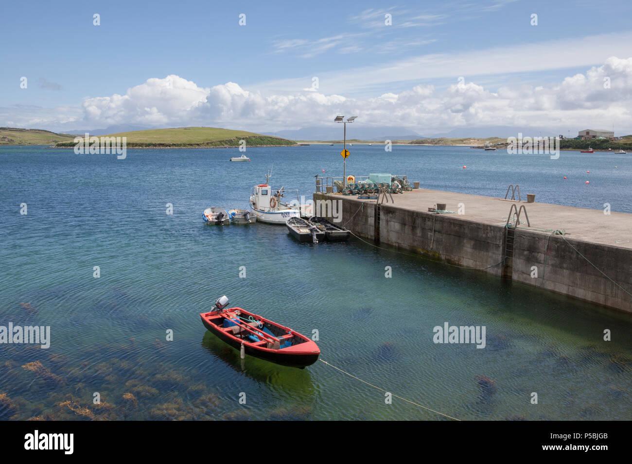 The harbour near Kildamhnait Castle on Achill Island in County Mayo, Ireland Stock Photo