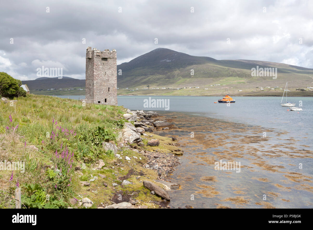 Kildamhnait Castle is a 15th century tower house associated with the O' Malley Clan on Achill Island in County Mayo, Ireland - Stock Image