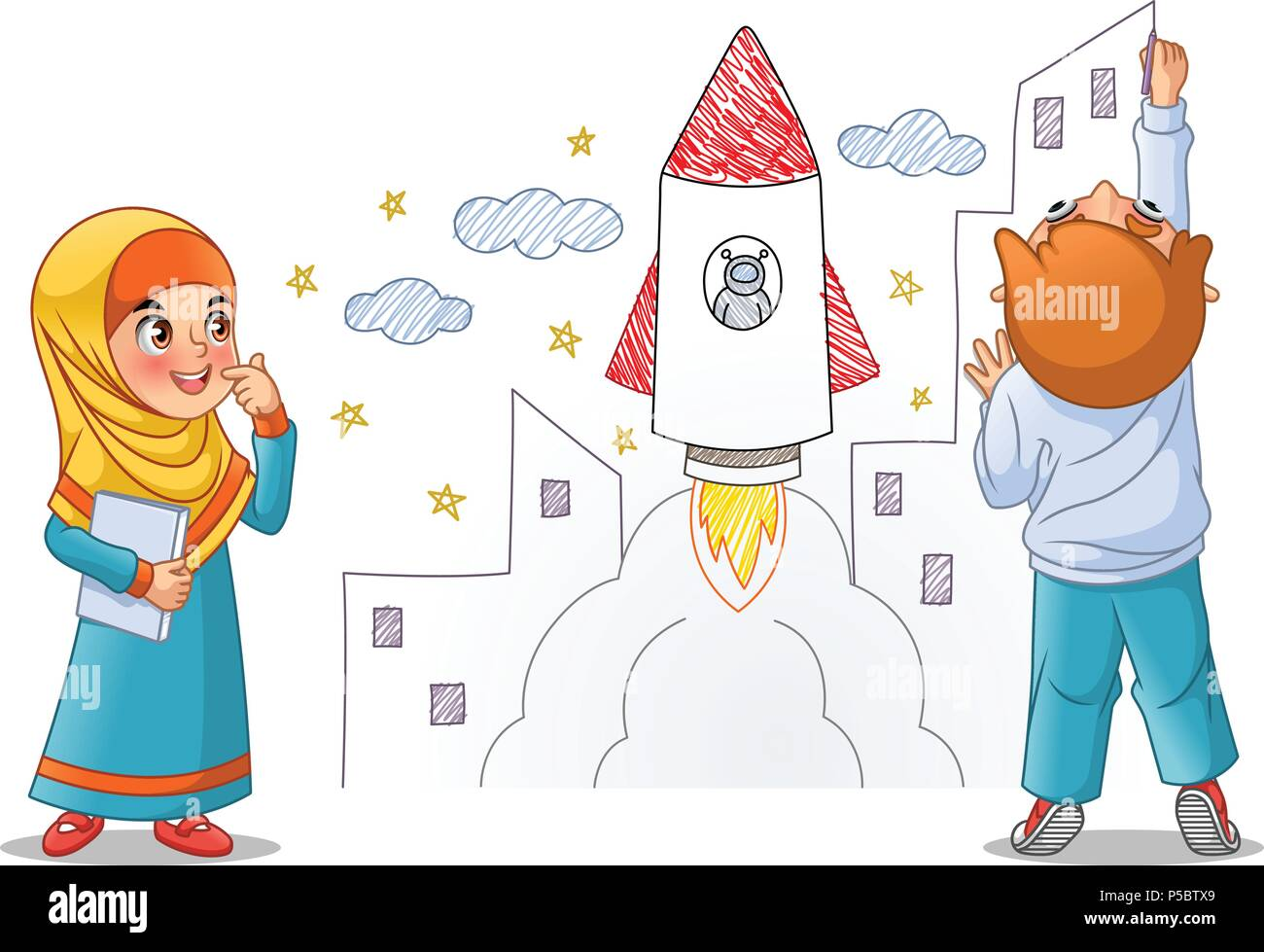 Kids paint draw space rocket on the wall, cartoon character design ...