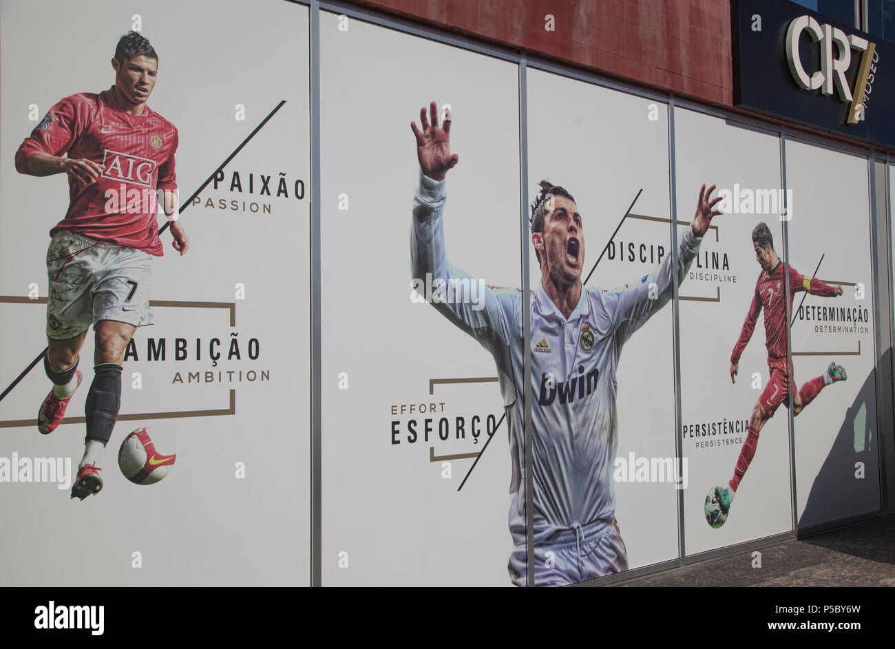 Images of Christiano Ronaldo outsde the CR7 Museum in Funchal Madeira - Stock Image
