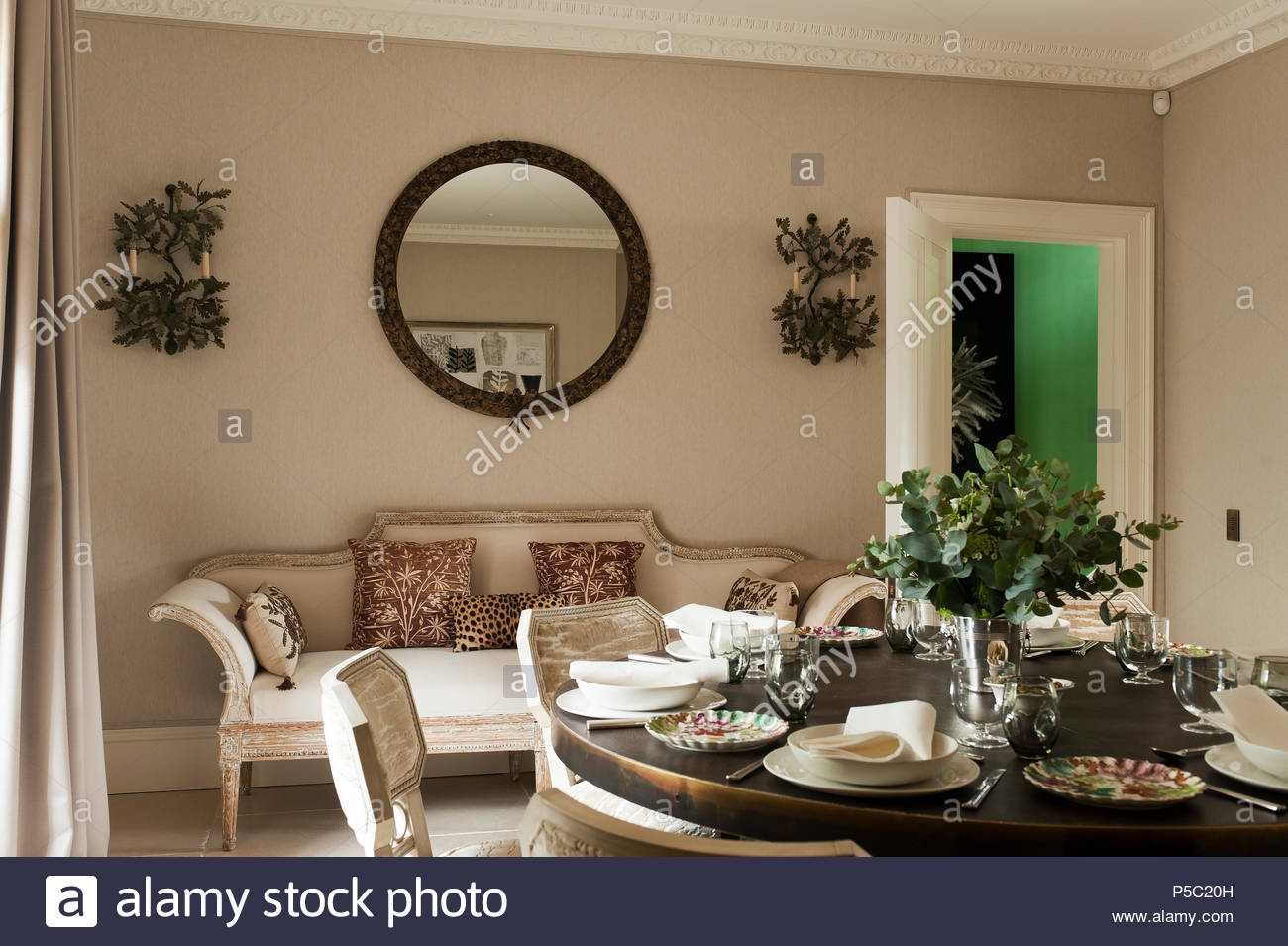 Country Style Kitchen With Set Table   Stock Image