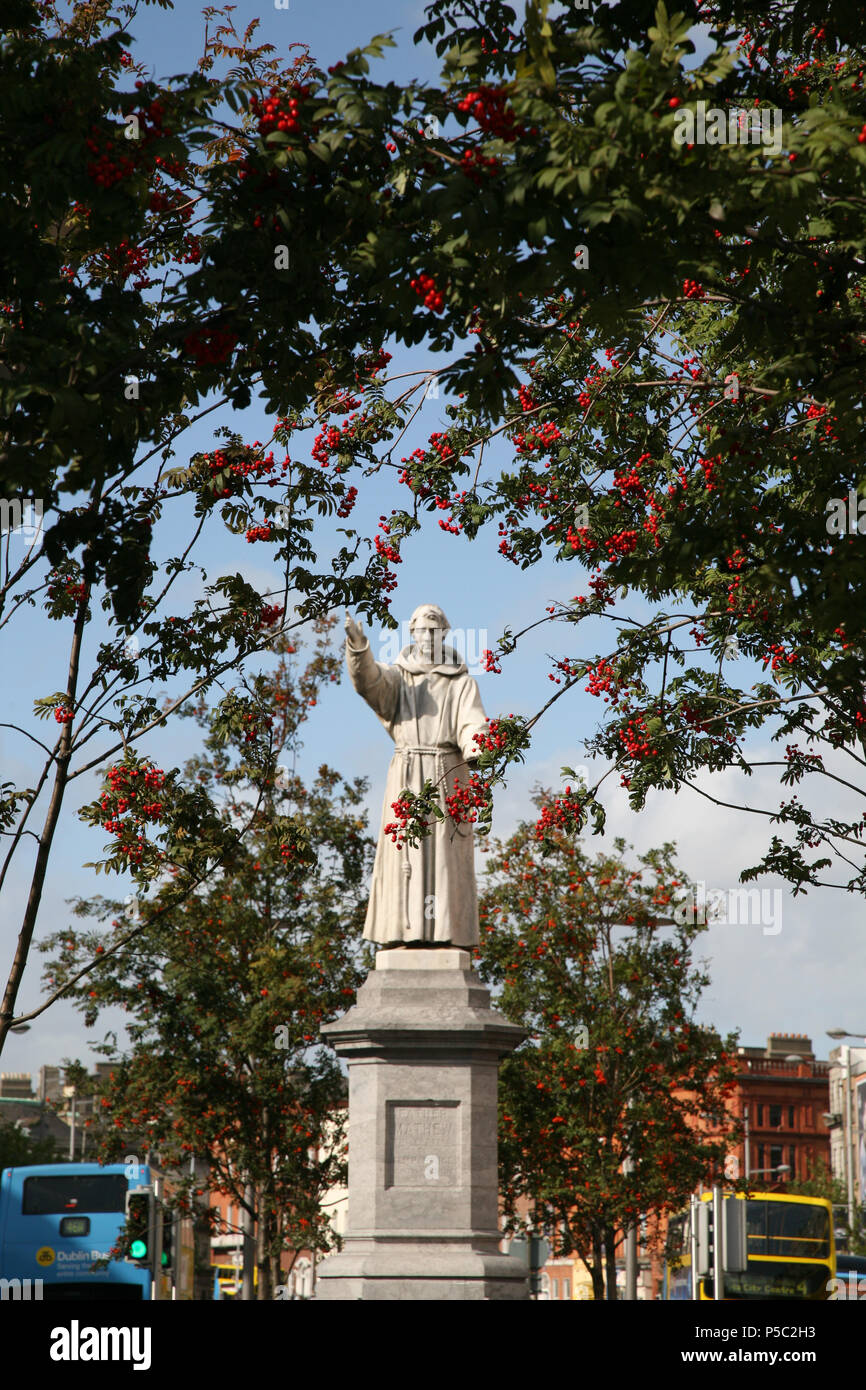 Statue of Father Theobald Mathew ( The Apostle of temperance ) in O'Connell Street created by Mary Redmond inaugurated in 1893, Dublin, Ireland. Stock Photo