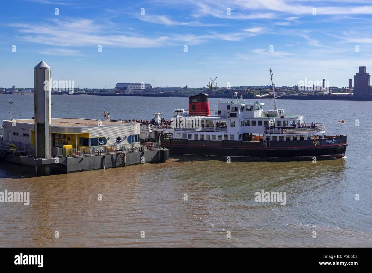 Liverpool Pierhead waterfront. North West England. Merseyside Mersey ferry Royal Iris - Stock Image