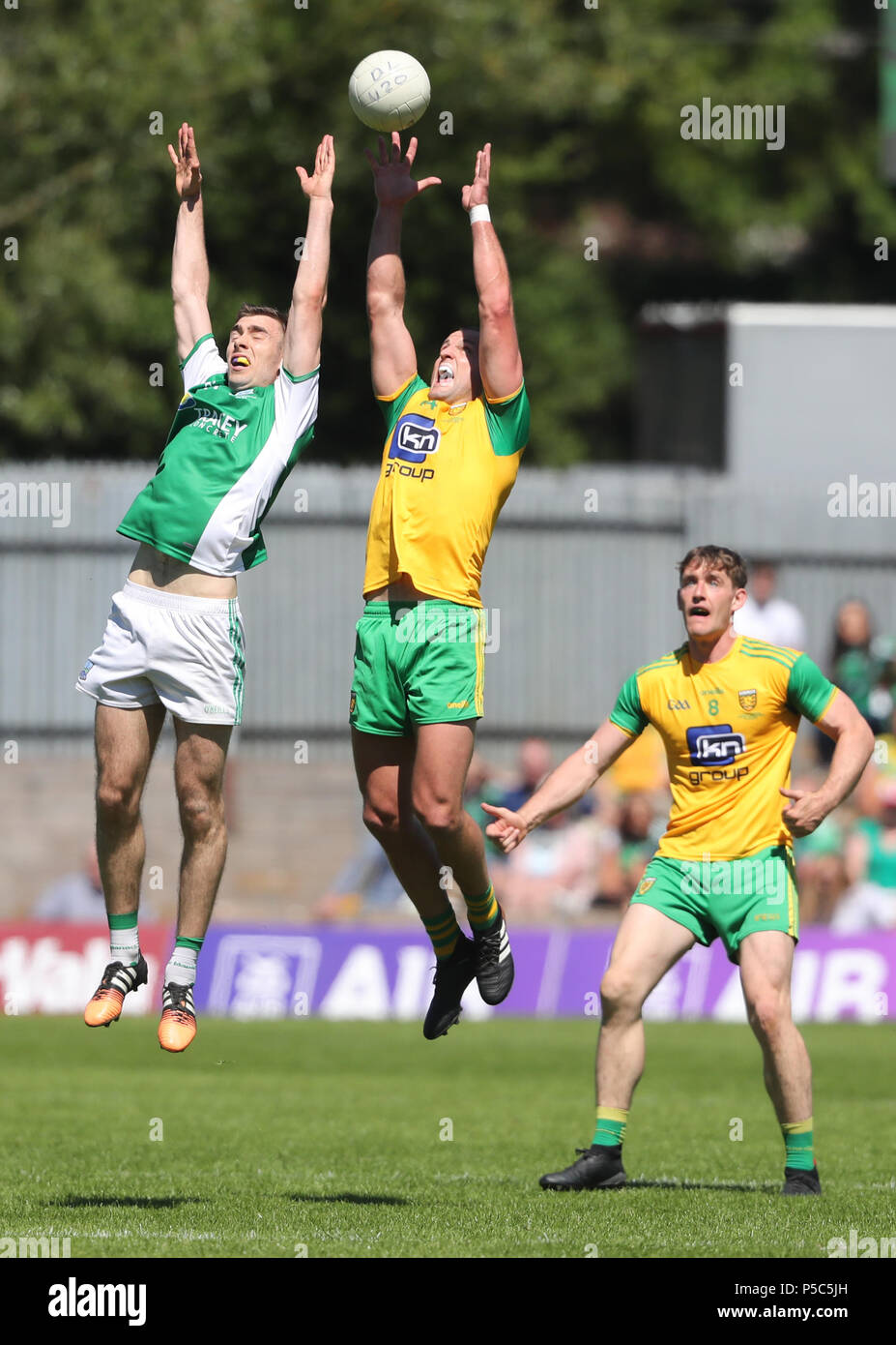 Fermanagh's Conall Jones and Donegal's Michael Murphy during the GAA Ulster Final in Clones, Co Monaghan, Ireland. - Stock Image
