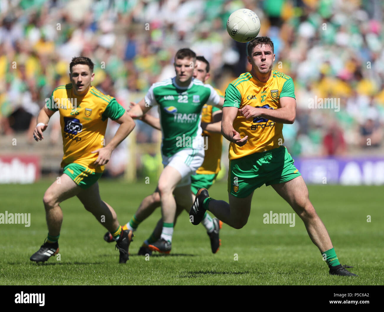 Donegal's Daire O Baoill on the ball during the GAA Ulster Final in Clones, Co Monaghan, Ireland. - Stock Image