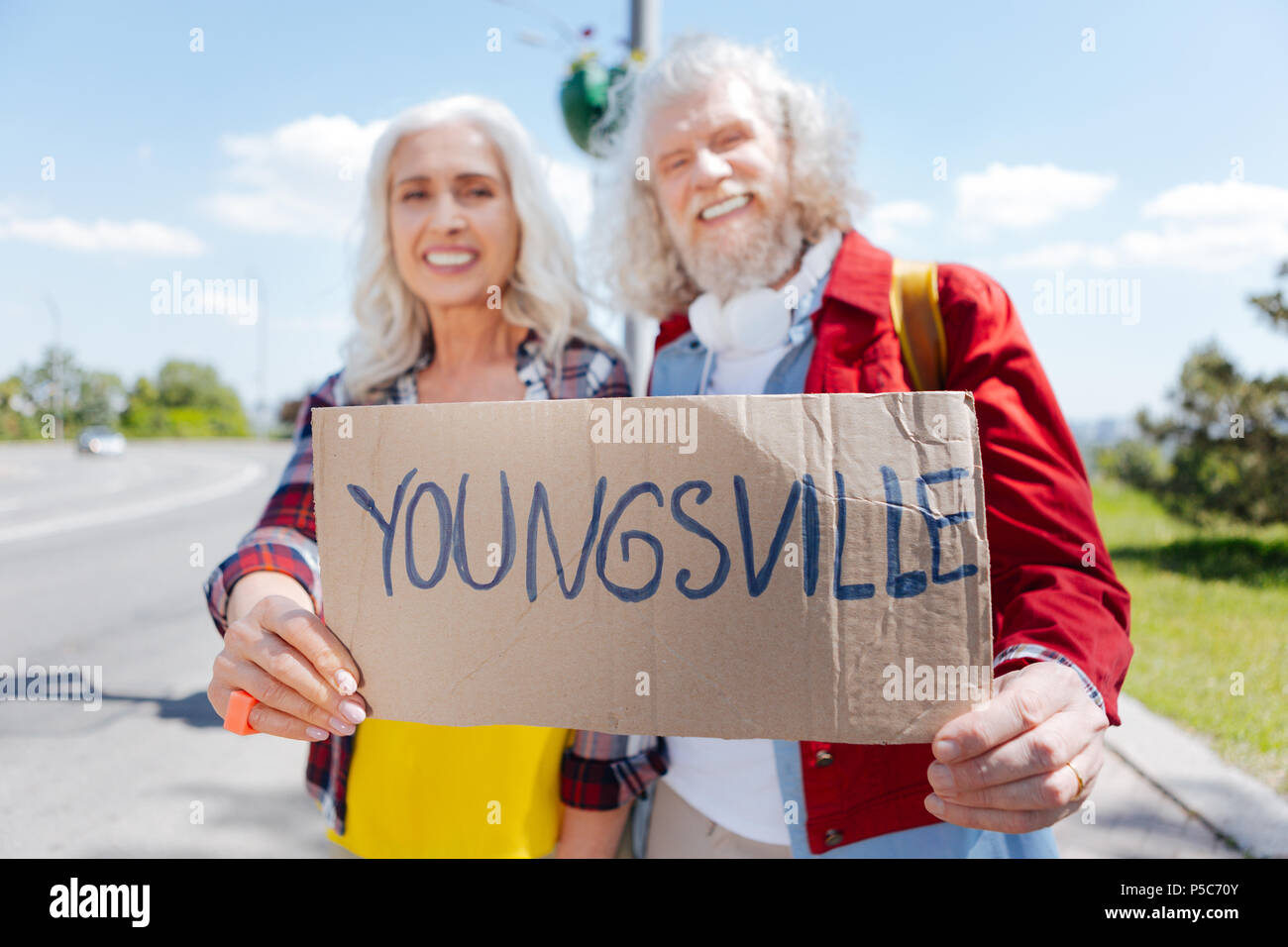 Selective focus of a sign - Stock Image