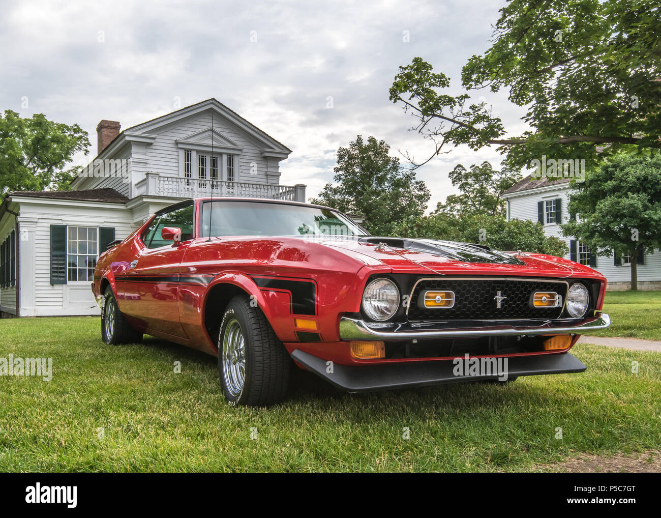 Dearborn mi usa june 16 2018 a 1972 ford mustang mach 1 car at the henry ford thf motor muster car show held at greenfield village