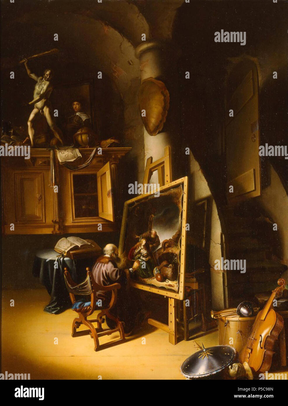 N/A.  English: Adriaen van Gaesbeeck - An Artist in His Studio. Attributed to Adriaen van Gaesbeeck (Dutch, 1621/1622-1650) An Artist in His Studio, ca. 1645 Oil on panel 36 1/2 x 29 1/4 in. (92.71 x 74.3 cm) Gift of Friends of Art M1989.6 Photo credit P. Richard Eells. Milwaukee Art Museum . 6 May 2011, 11:21:49. N/A 63 Adriaen van Gaesbeeck - An Artist in His Studio - Stock Image
