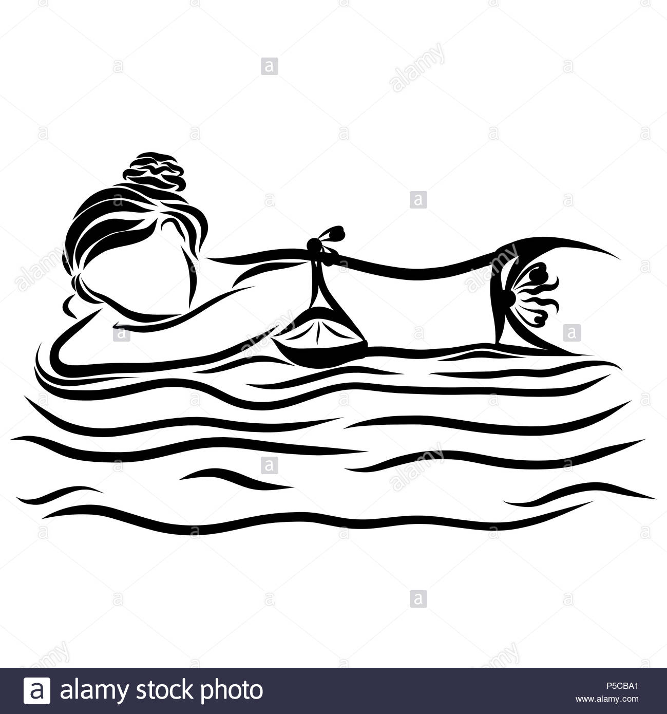 A girl in a bikini floating on a mattress on the waves - Stock Image