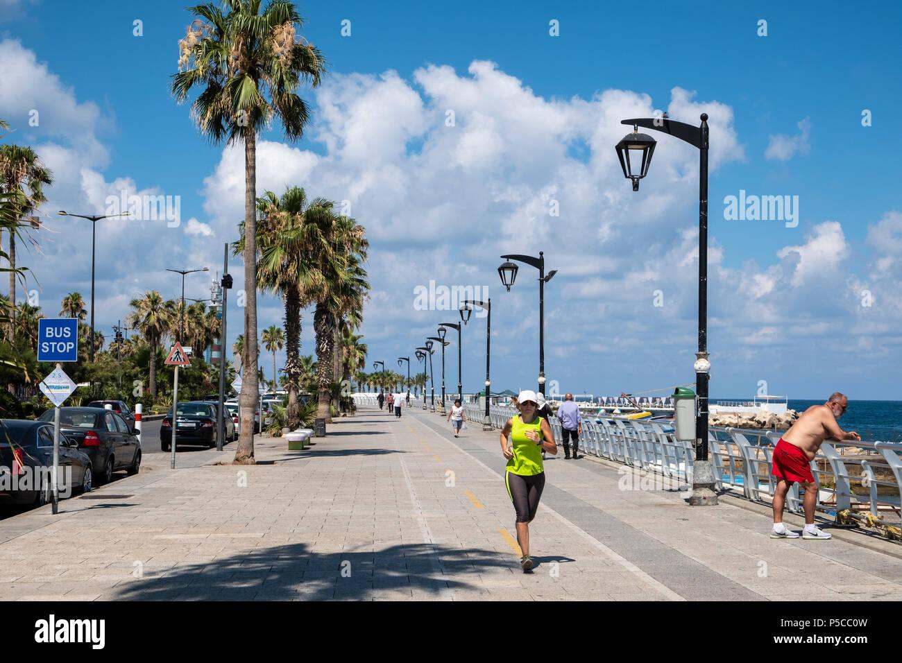 View along the  Corniche in Beirut, Lebanon. - Stock Image