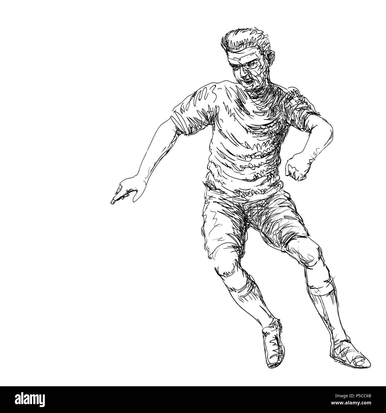 Hand drawing of Soccer Player kicking a ball - Vector Hand drawn Illustration. - Stock Vector