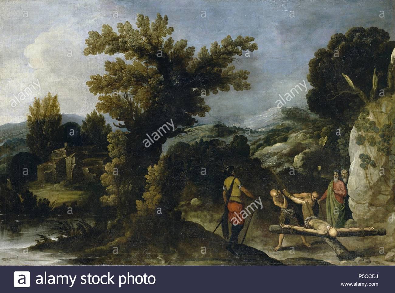 Francisco Collantes / 'Landscape with the Crucifixion of Saint Peter', First half 17th century, Spanish School, Canvas, 110 cm x 163 cm, P07413. Artwork also known as: Paisaje con la crucifixión de San Pedro. Museum: MUSEO DEL PRADO. - Stock Image