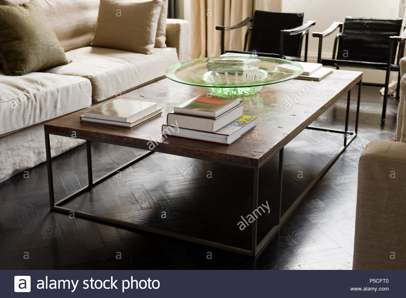 Coffee table in modern living room - Stock Image