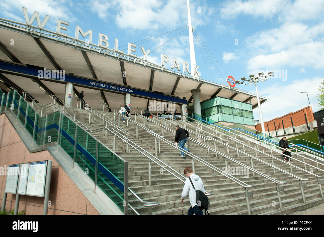 Steps from Wembley Park station leading to stadium - Stock Image