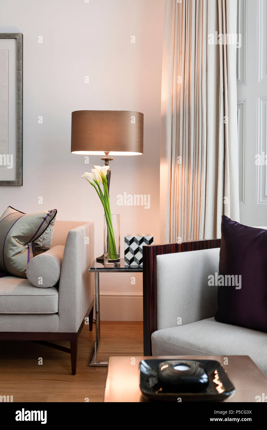 Lamp and flowers in modern style living room Stock Photo: 209873774 ...