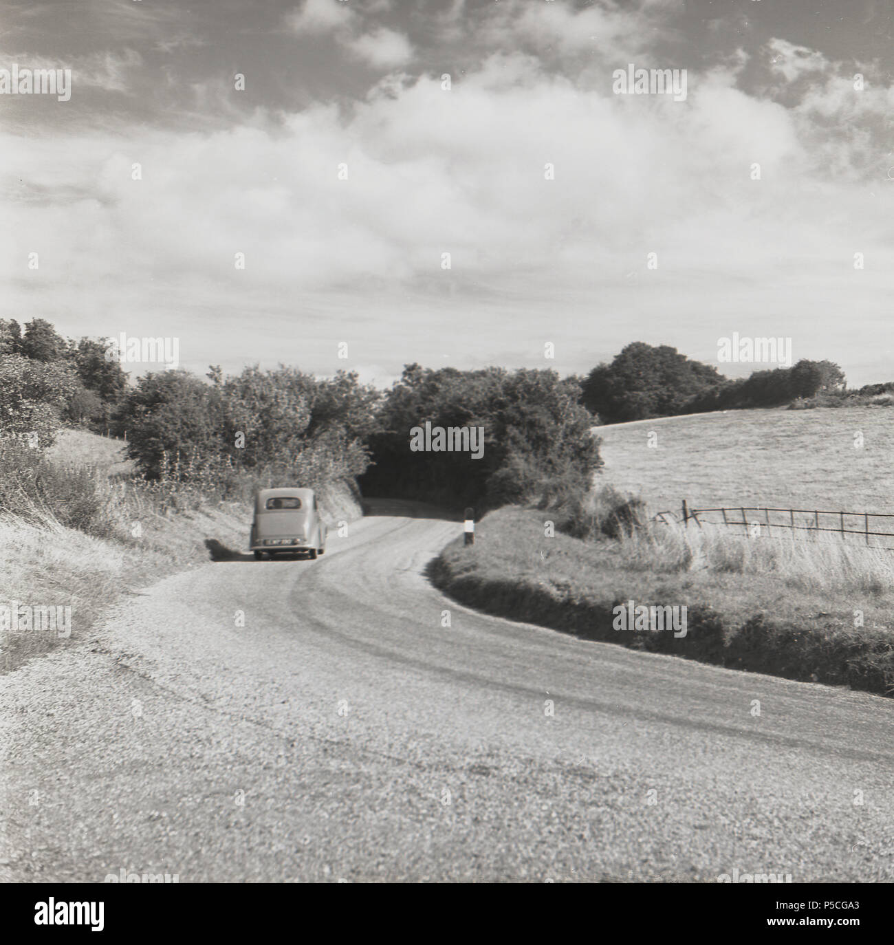 1950s, Ireland, empty roads and lovely countryside for a motoring holiday. - Stock Image